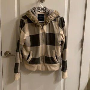 American Eagle fleece lined plaid zip up jacket